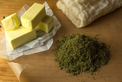 Cannabutter-and-cannabis-infused-oil-is-the-basis-for-savoury-cooking-with-cannabis-Rene-Walter-250x167